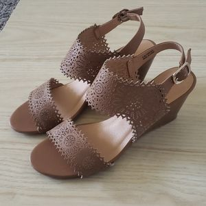 Strappy Cognac Wedges